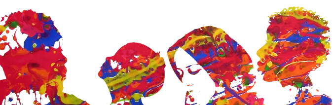 Silhouette Heads with colourful paint splatter.