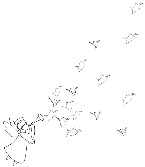 Line drawing of an angel blowing a trumpet with origami peace cranes flying out of the trumpet.