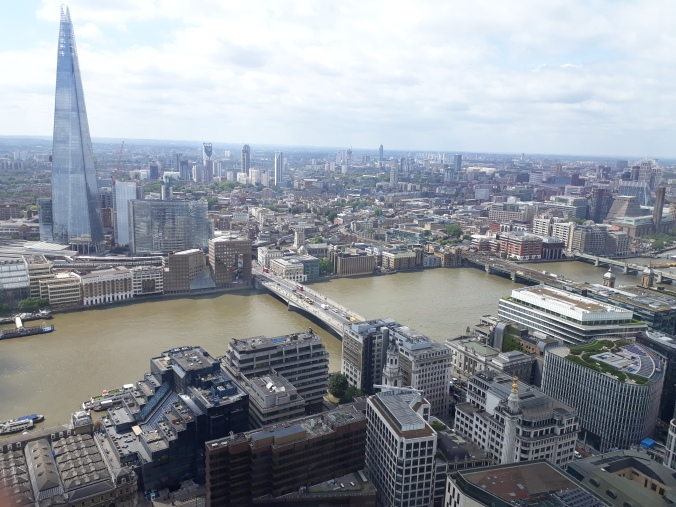 View from the Sky Garden - including the Shard, the river Thames and Monument