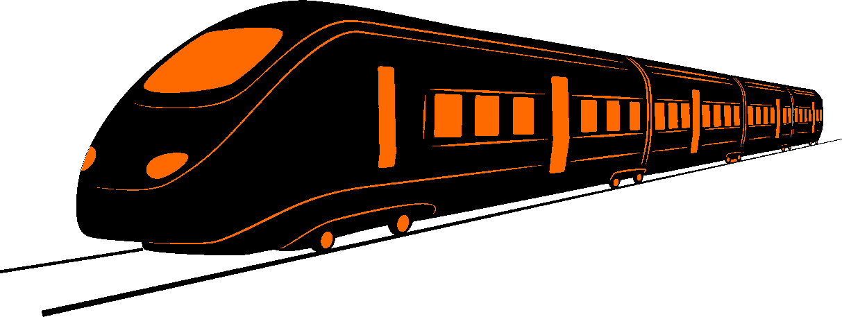 Silhouette of modern train with orange windows, doors and lights.