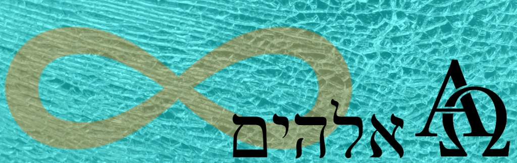 Symbols for eternity, Alpha and Omega, and the Hebrew word Adonai.