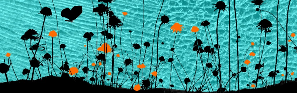 Silhouette of flower meadow on background of shattered blue glass