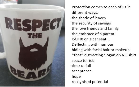 Text reads: Protection comes to each of us in different ways: the shade of leaves the security of savings the love friends and family the embrace of a parent ISOFIX on a car seat... Deflecting with humour hiding with facial hair or makeup *that* distracting slogan on a T-shirt space to risk time to fail acceptance hope recognised potential