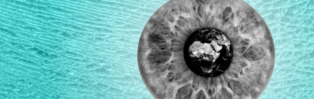 Black and White image of the earth inside the pupil of an eye, with iris surrounding on a broken glass background.