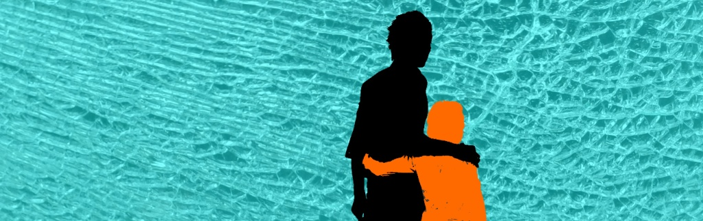 Silhouette of father (black) with son (orange) hugging. Background is shattered glass.