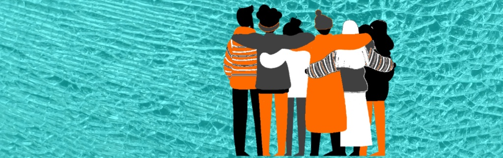 Group of six women with arms around shoulder. Stylised image in orange, grey, black and white. Background is shattered glass.