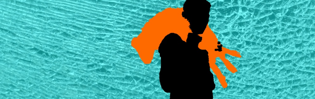 Black silhouette of man carry orange silhouetted sheep on cracked glass background