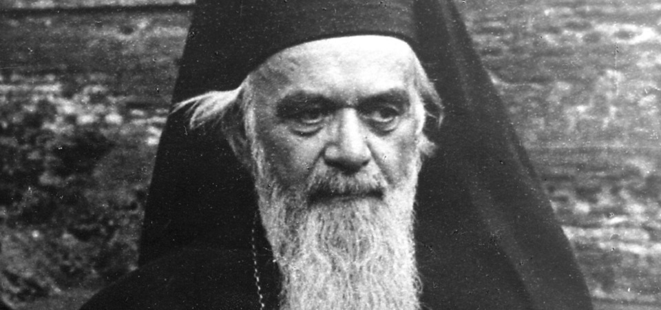 Black and white portrait photo of Nikolaj Velimirović